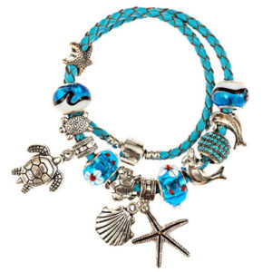 Leather bracelet with baubles