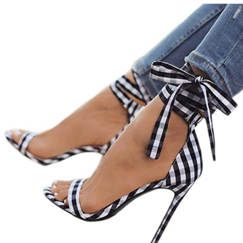 Plaid ladies high heels