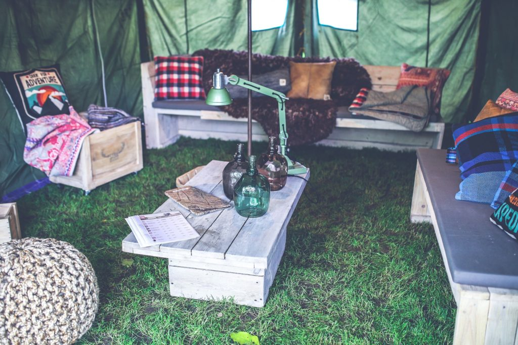 Glamping with makeshift furniture