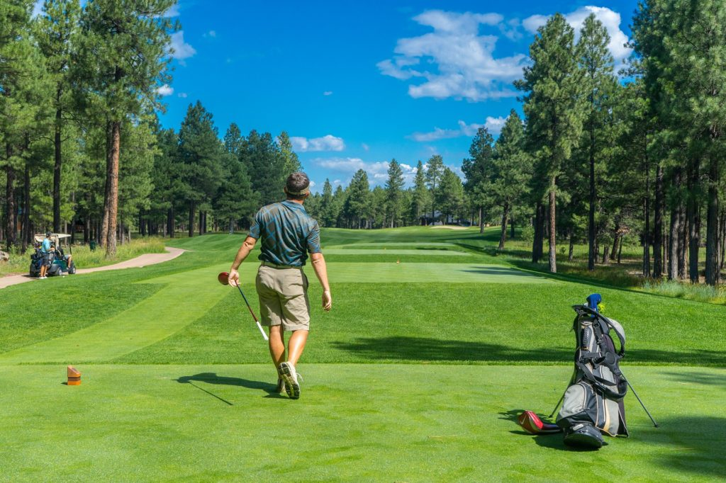 Golfer watching drive from tee box