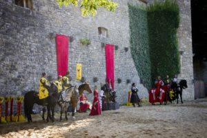 Medieval times knights on horseback
