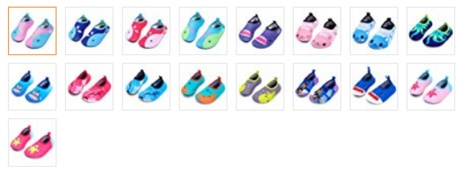 kids water shoes collage