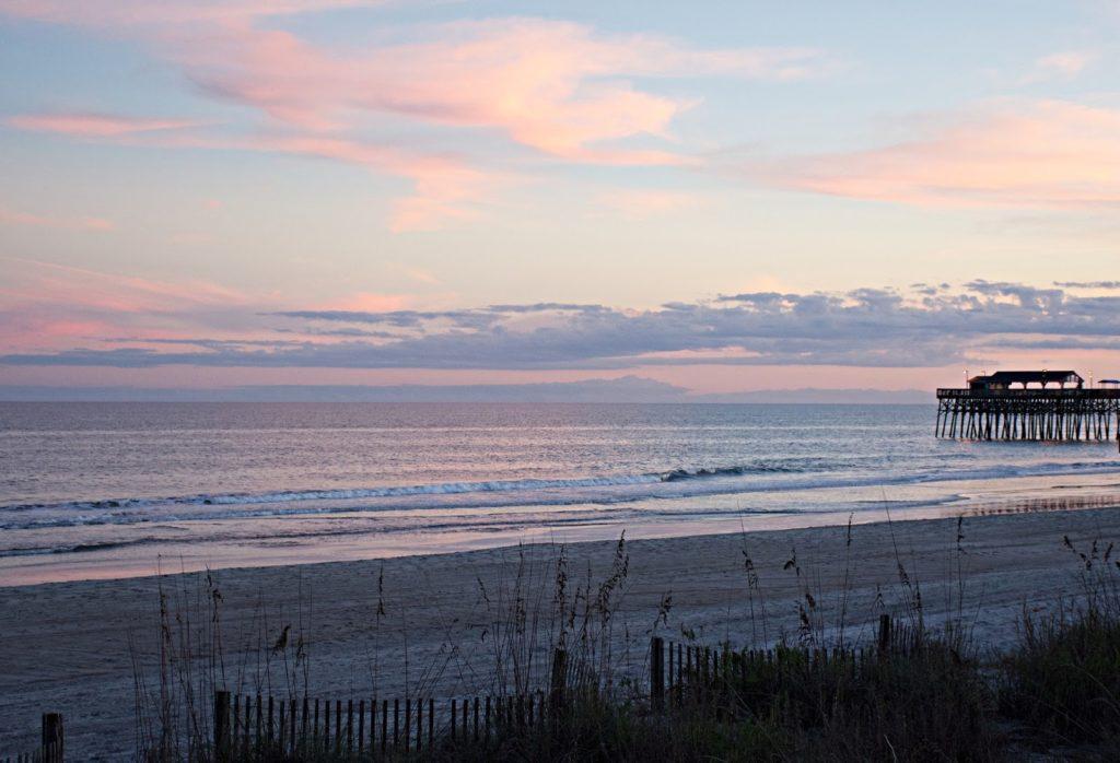 romantic sunrise on beach