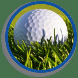 Golf ball resting in grass