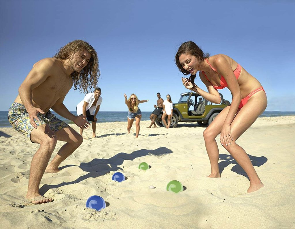 Couple enjoying game of bocce ball in Myrtle Beach, SC