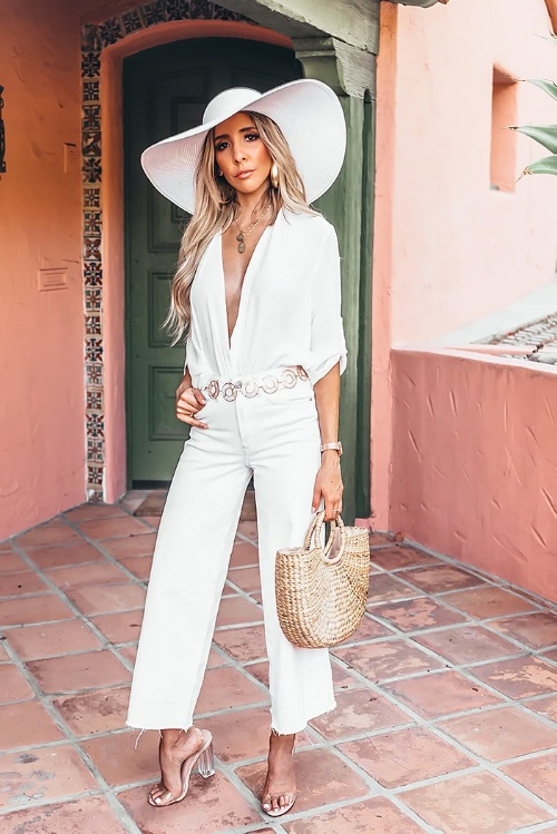 Classy lady wearing matching outfit with hat