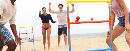people Playing ladder ball on beach