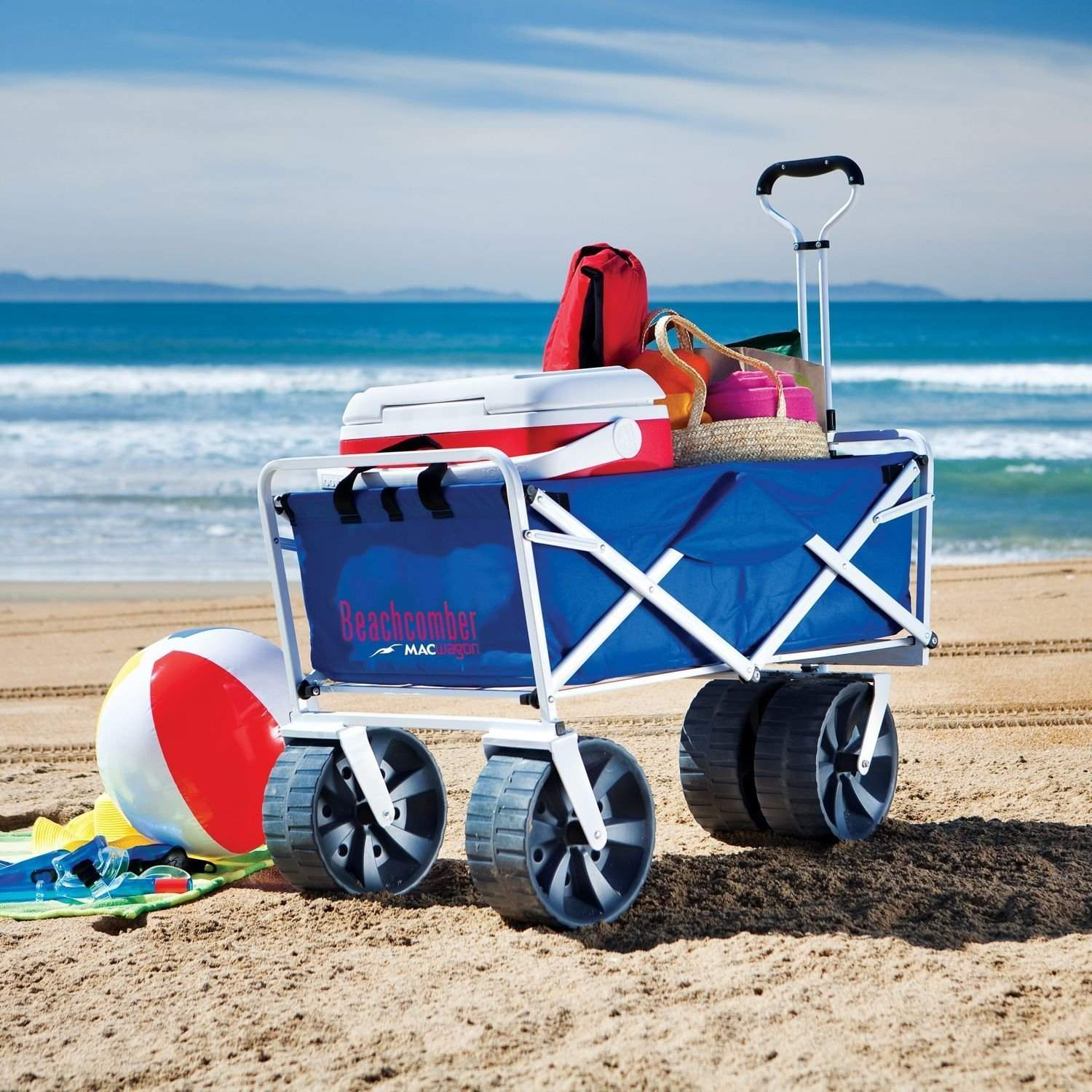 Beach cart loaded with beach supplies