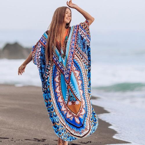 woman wearing long maxi coverup on beach