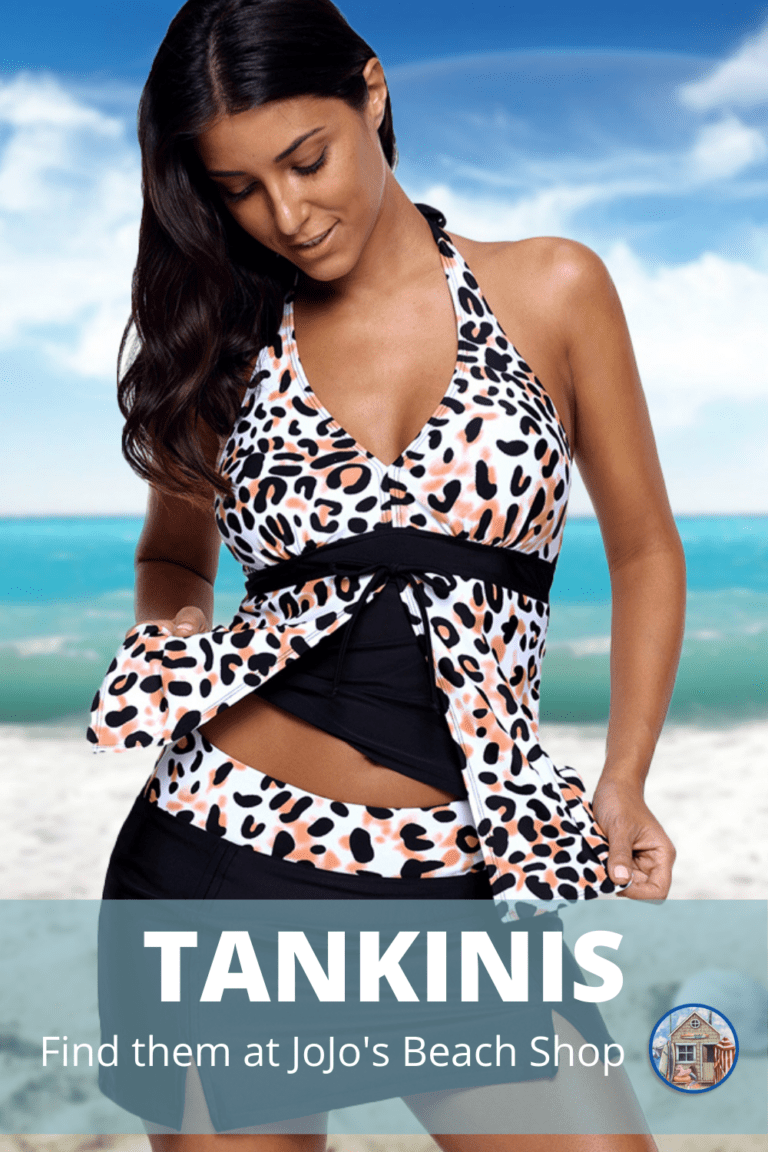 lady on beach wearing tankini swimsuit