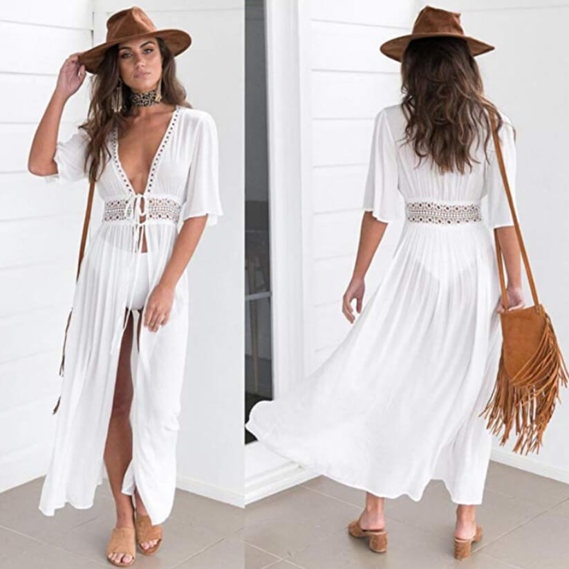 Flowing white swimsuit coverups are popular