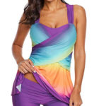 Lady models tankini style swimsuit