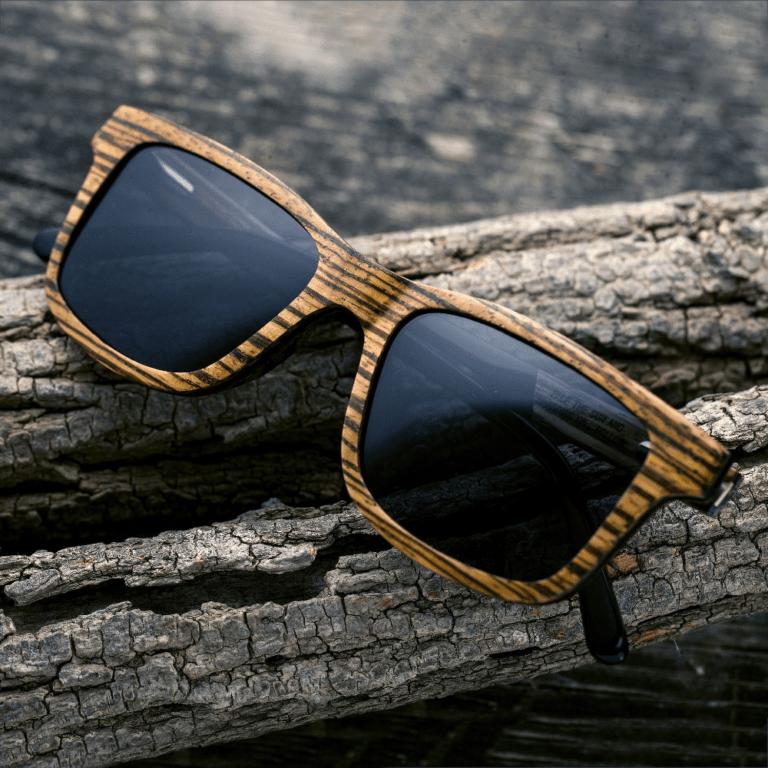 wood shades displayed on log