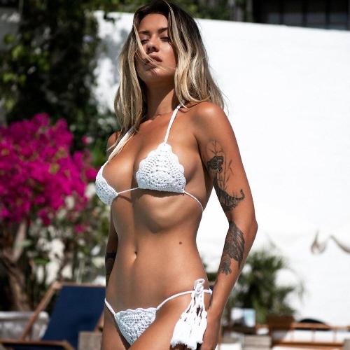 girl wearing white crocheted bikini