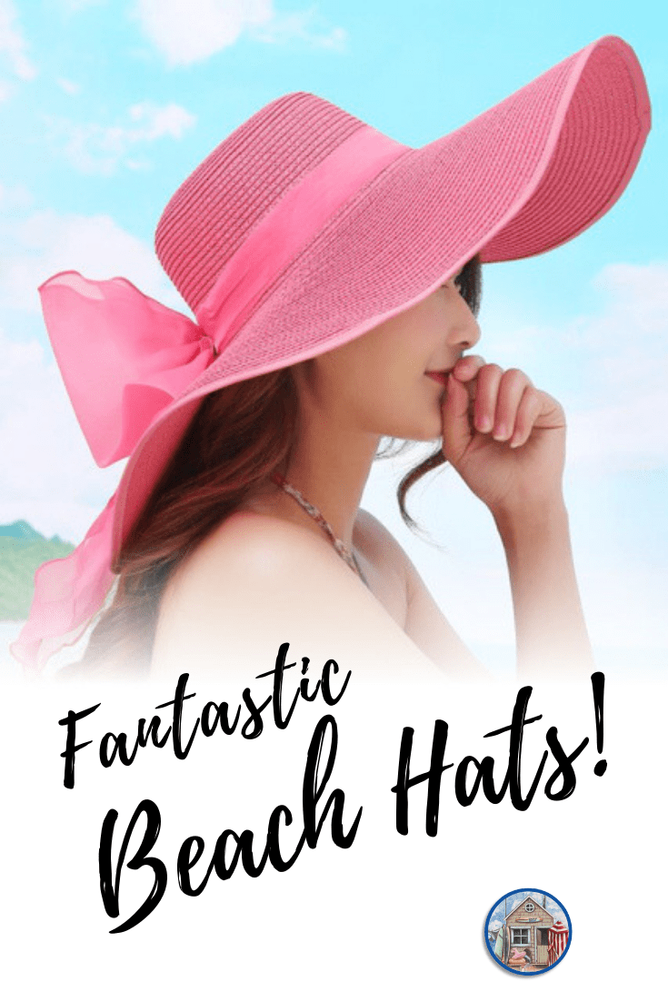 Lady wearing large floppy pink beach hat