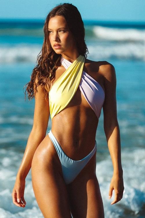 Lady wearing pastel swimsuit