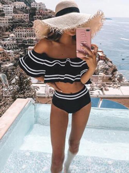 Lady wearing off shoulder swimsuit