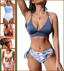 lady wearing multi-colored bikini