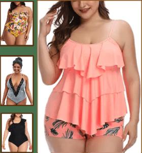 lady wearing plus size swimsuit