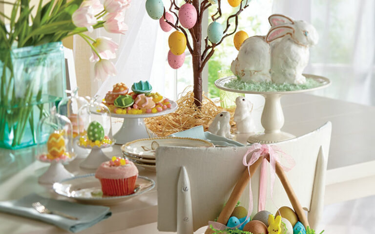 Table decorated for Easter celebration