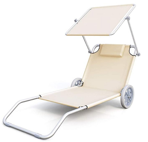 Rolling beach chair with shade