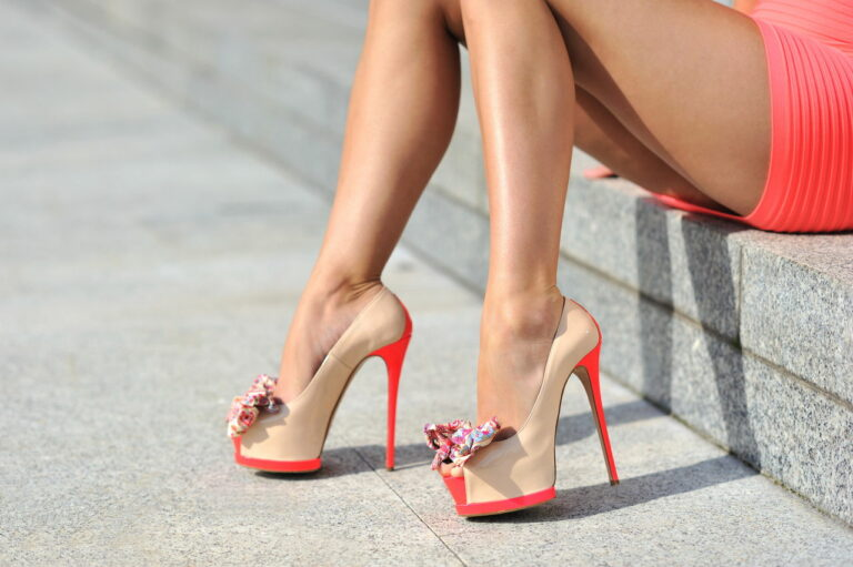 Lady modeling high heel shoes