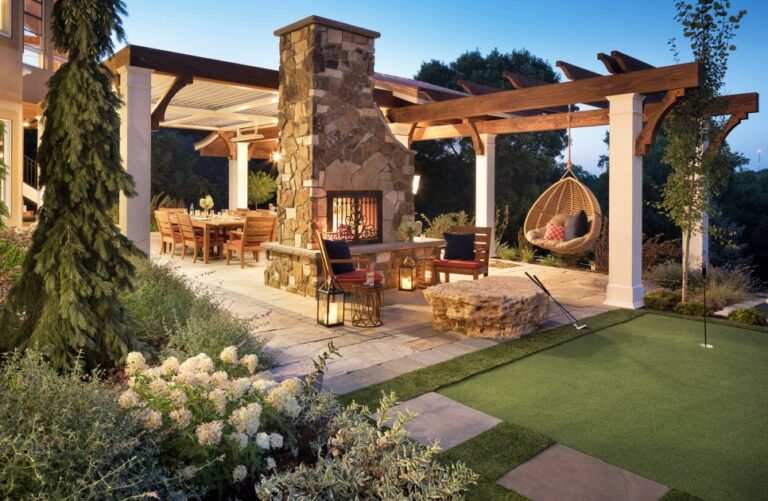 backyard oasis with fireplace