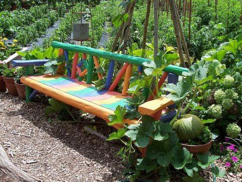 backyard bench multicolor