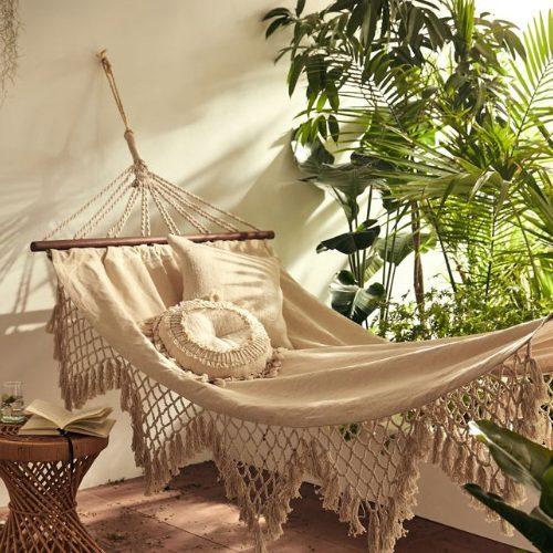 backyard hammock with pillows