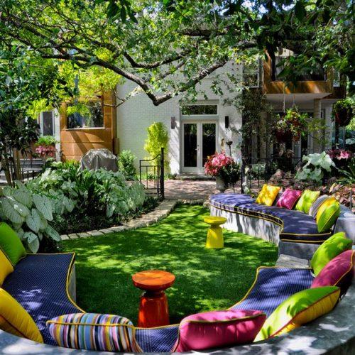 colorful backyard seating